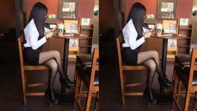 星巴克正妹等一個人咖啡 側面看超犯規(圖/加藤軍路邊隨手拍)