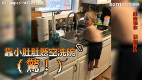寶寶靠肚子支撐身體。(圖/IG:papaclint2323授權)