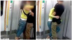 大陸,地鐵,接吻,情侶,車廂,嬌喘聲(圖/翻攝自微博)