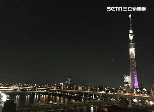 日本,東京,晴空塔,夜景,觀光。(圖/記者楊佩琪攝)