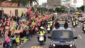 蔡英文車隊掃街,支持者爆滿。(圖/記者黎冠志攝影)