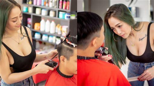泰國,理髮,男性,顧客,宣傳,闆娘,美髮,功夫,跨坐,速剪,理髮廳 圖/翻攝自Red Cut臉書