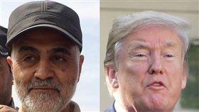 伊朗軍、情最重要將領蘇雷曼尼(左)遭美國總統川普(右)下令狙殺,伊朗7日揚言已考慮13套報復劇本,美國軍方預期伊朗可能一或兩天內就會有重大攻擊。(中央社檔案照片)