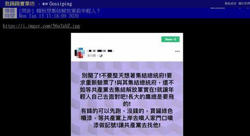 韓粉,解放軍,台灣,年輕人,戰爭,PTT 圖/翻攝自PTT