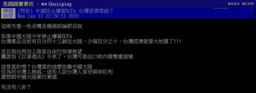 ECFA,兩岸經濟合作架構協議,中國大陸,台灣,兩岸,PTT 圖/翻攝自PTT