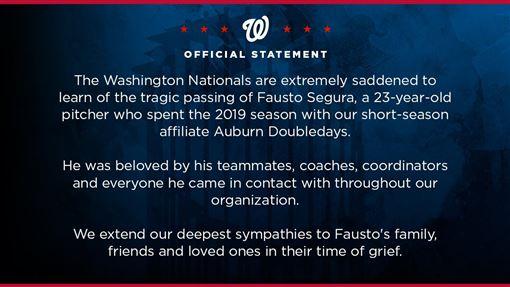 ▲國民新秀瑟古拉(Fausto Segura)車禍身亡。(圖/翻攝自國民推特)