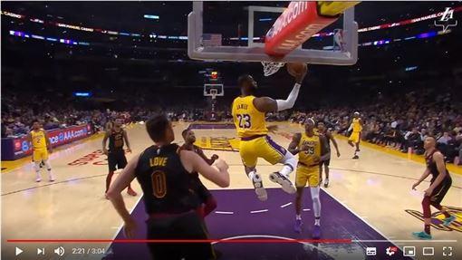 ▲詹姆斯(LeBron James)滯空拉桿上籃。(圖/翻攝自YouTube)