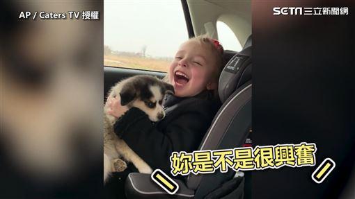 小女孩很開心有新寵物