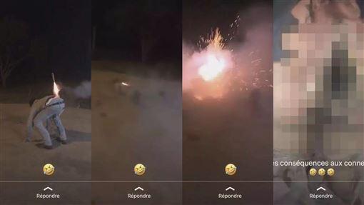 沖天炮,煙火,屁股,菊花,行為,重傷,爆炸,鞭炮,臀部, 圖/翻攝自YouTube