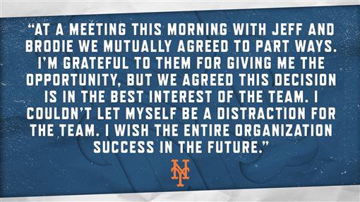 ▲貝爾川(Carlos Beltran)透過球團發表聲明。(圖/翻攝自大都會推特)