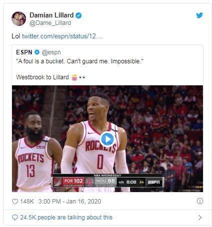 NBA/被威少噴垃圾話 小李回應了NBA,波特蘭拓荒者,Damian Lillard,休士頓火箭,Russell Westbrook翻攝自推特