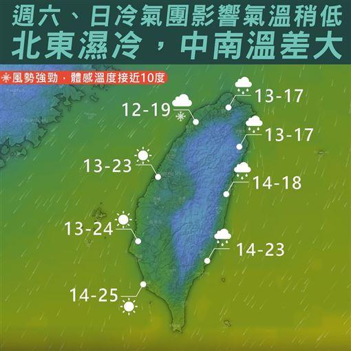 氣象局,天氣,冷氣團,台灣颱風論壇|天氣特急,大陸冷氣團圖/翻攝自台灣颱風論壇|天氣特急