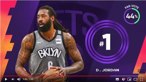 ▲小喬丹(DeAndre Jordan)傳球變失誤,糗登《俠客真烏龍》。(圖/翻攝自NBA on TNT)