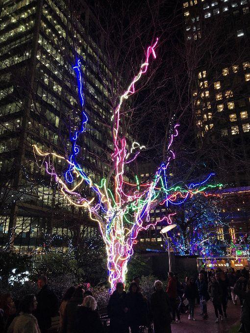 倫敦冬季光之季作品霓虹樹倫敦「冬季光之季」16日揭幕,圖為參展作品霓虹樹。中央社記者戴雅真倫敦攝 109年1月18日