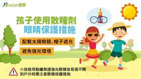 名家專用/NOW健康/食藥署建議,使用散瞳劑治療近視時,戶外活動應做好陽光防護,例如戴帽子與太陽眼鏡。(勿用)