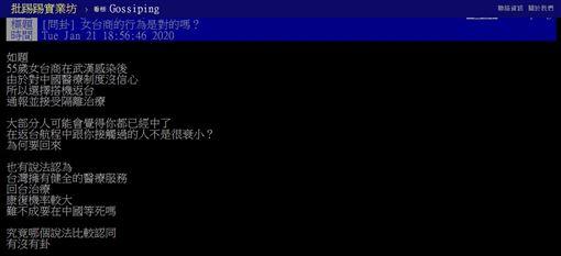 武漢,肺炎,台商,台灣,治療,PTT 圖/翻攝自PTT