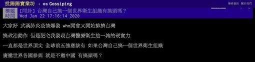武漢肺炎,WHO,台灣,世界衛生組織,PTT 圖/翻攝自PTT