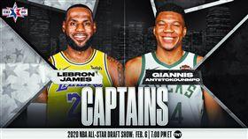 ▲2019-20賽季明星賽,詹姆斯(LeBron James)、字母哥(Giannis Antetokounmpo)續任隊長。(圖/翻攝自NBA推特)