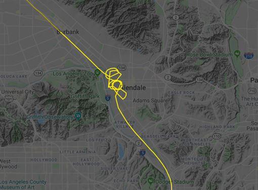 布萊恩,湖人,直升機,墜機,NBA(圖/翻攝自推特-Flightradar24)