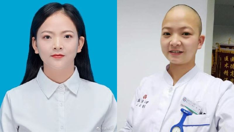 武漢肺炎/怕長髮影響救援 正妹護理師「剃光頭」惹哭網