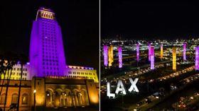 洛杉磯市府、機場「紫金燈」悼念柯比 NBA,Kobe Bryant,洛杉磯,市政府,機場 翻攝自推特