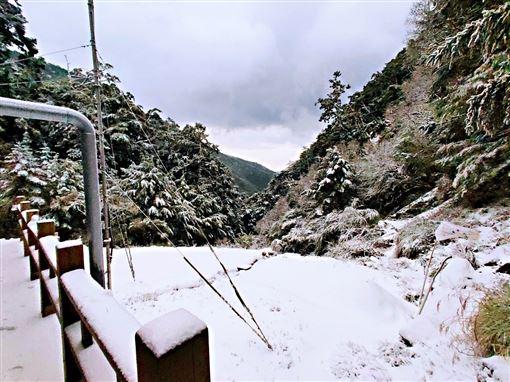 南橫嘉明湖也下雪成銀白世界!嘉明湖天馬登山社提供