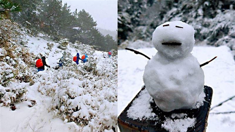 嘉明湖雪深及腰又強風 暴風雪趴著走