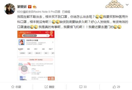 劉樂妍崩潰買不到口罩 圖/微博