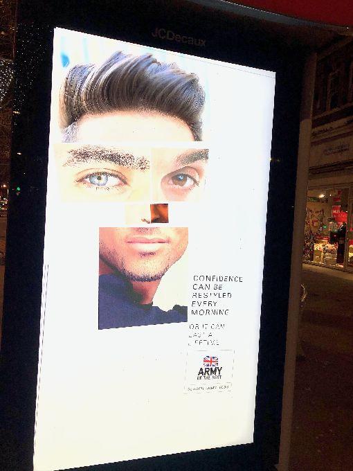 英國陸軍招攬新兵 募兵廣告出奇招倫敦街頭看到廣告版,特寫男性眼睛、下巴、髮型等,以及「每天早晨重新打造的自信」等廣告詞,這是英國陸軍招攬新兵的最新招數。中央社記者戴雅真倫敦攝 109年1月29日