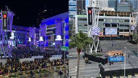 Staples Center外已經進行清場。(圖/翻攝自Lee Zeidman推特)