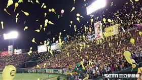 阪神虎主場施放氣球。(資料圖/讀者提供)