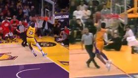 詹皇完美重現19年前Kobe的灌籃。(圖/翻攝自湖人推特)