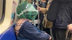 武漢肺炎,防疫,捷運,台北,安全帽,口罩(圖/爆廢公社】●