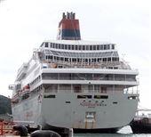 麗星郵輪「寶瓶星號」返抵基隆港。(記者邱榮吉/基隆拍攝)