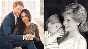哈利王子、梅根、黛安娜王妃(合成圖/圖左翻攝自IG、圖右路透社/達志影像)