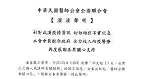 中華民國醫師公會全國聯合會【澄清聲明】LINE假訊息(醫師公會全國聯合會授權提供)