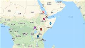 非洲之角現正深陷數十年來最嚴重的沙漠蝗蟲災害,對衣索比亞和索馬利亞而言是25年來最大蝗災,對肯亞而言更是70年來最慘重。周邊鄰近國家也深受蝗災之害。(圖取自Google地圖網頁google.com/maps)