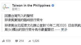 菲律賓,總統府,杜特蒂,台灣,旅行禁令(fb)