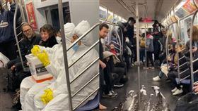 惡作劇,紐約,2019新型冠狀病毒,防護衣,地鐵,車廂,灑病毒