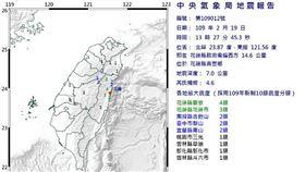 花蓮淺層地震!13:27地震規模4.6 最大震度4級