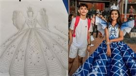 菲律賓,禮服,舞會,哥哥,妹妹,手縫,租,製作,縫製,公主, 圖/翻攝自Maverick Francisco Oyao臉書