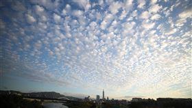 傍晚天空(1)中央氣象局指出,24日各地大多為多雲到晴的天氣,白天比起前幾天稍暖。圖為傍晚的天空,布滿了宛如棉花糖一般的雲朵。中央社記者張新偉攝 108年11月24日