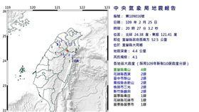 0225地震 20:27(圖/中央氣象局)