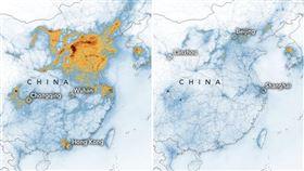 NASA一張衛星雲圖 揭武漢上空驚人變化 圖翻攝自NASA https://earthobservatory.nasa.gov/images/146362/airborne-nitrogen-dioxide-plummets-over-china?utm_source=TWITTER&utm_medium=NASA&utm_campaign=NASASocial&linkId=83339381