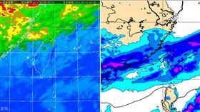 圖:今(4日)晨4:30紅外線雲圖(左圖)顯示,各地雲量稍增,馬祖上空雲層較厚。最新(3日20時)歐洲中期預報中心(ECMWF)模式,模擬5日8時前12小時(今晚至明晨)累積降雨(右圖)顯示,北部、東半部降雨明顯,並擴及中部。