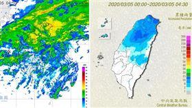 圖:今(5日)晨4:50雷達回波圖(左圖)顯示,中部以北回波較強,南台灣較弱。4:30累積降雨圖(右圖)顯示,中部以北降雨明顯,南台灣較零星。