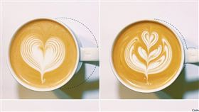 Evelyn拉花賽事當天的作品(左上愛心、右上鬱金香、左下玫瑰、右下葉子)。(圖/翻攝自星巴克臉書粉絲專頁)