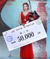 第一屆JKF百大女郎第三名紀曉嵐。(記者邱榮吉/攝影)