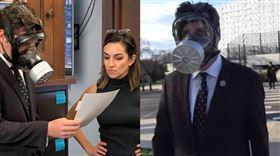 川普鐵粉議員馬特·蓋茨戴「防毒面具」投票(圖/TMZ YouTube、推特)