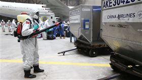 圖說四:陸軍33化兵群官兵分組在棚廠任務區內進行消毒作業。(軍聞社記者謝宏檜攝)